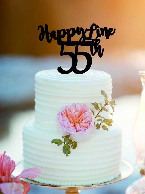Happy Fine 55 Years Birthday Cake Topper Bithday