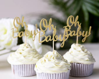 Oh Baby Cupcake Topper /birthday cup cake topper/table decorations/Birthday cupcake topper/ Baby Shower Party/First Birthday