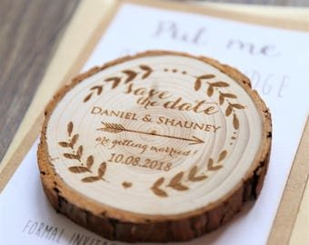 Custom arrow with names Wood Save the date Magnets, rustic wedding favors, Rustic wedding Magnets,Rustic Wedding Magnet