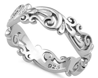 Sterling Silver Vine Ring