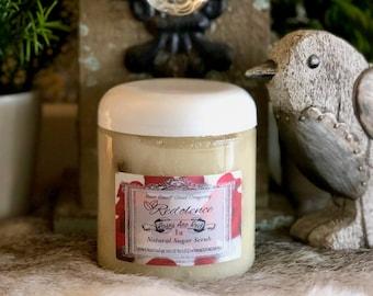 Rose Essential Oil Sugar Body Scrub 8oz with Dried Rose Petals- Extra Exfoliating