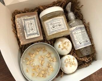 Oatmeal, Milk, and Honey Gift Set- 16oz Soy Candle, 4oz Castile Soap, 6oz Bastille Soap, (2) 3.5oz Bath Bombs, and 8oz Sugar Body Scrub