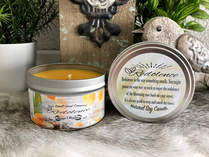 Mimosa Mandarin 8oz. Natural Soy Candle Tin and 3oz Wax Melt image 0