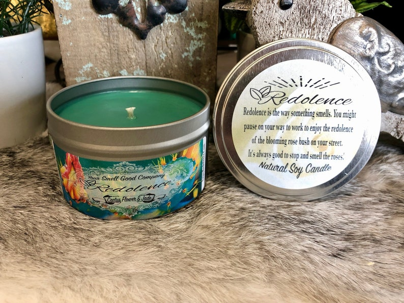 Cactus Flower and Jade 8oz. Natural Soy Candle Tin and 3oz Wax image 0