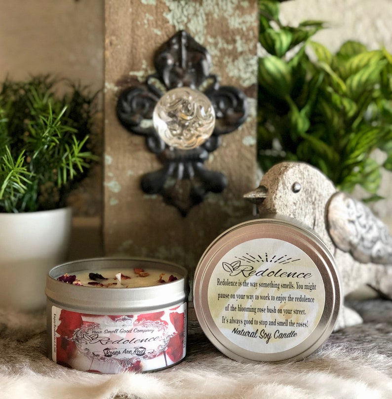 Roses are Red 8oz. Natural Soy Candle Tin and 3oz Wax Melt image 0