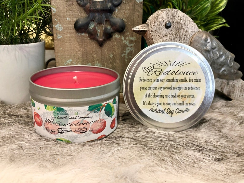 Cherries Jubilee 8oz. Natural Soy Candle Tin and 3oz Wax Melt image 0