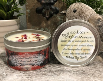 Aromatherapy Romance Blend- Rose, Jasmine, and Neroli Essential Oil 8oz. Natural Soy Candle Tin and 3oz wax melt
