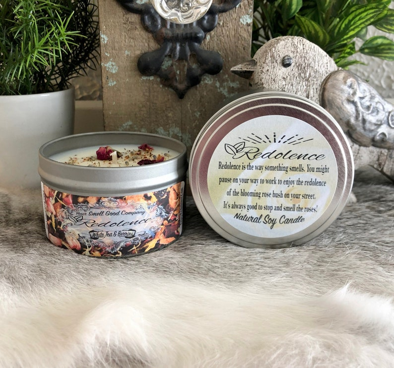 White Tea and Berries 8oz. Natural Soy Candle Tin and 3oz Wax image 0