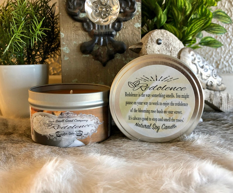 Pumpkin Spice Latte  8oz. Natural Soy Candle Tin and 3oz Wax image 0