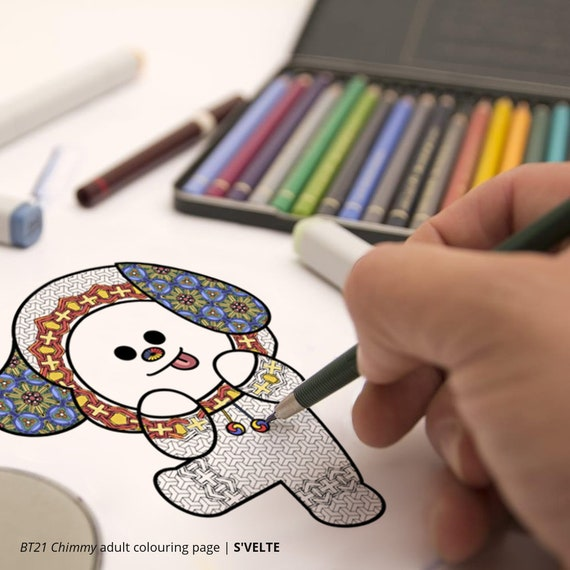 bt21 coloring pages BT21 Chimmy by BTS Jimin: Downloadable digital coloring page | Etsy bt21 coloring pages