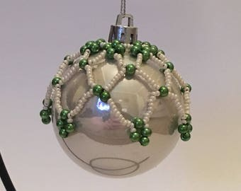 Christmas Tree Decoration / Hand Beaded Pearl and Green Christmas Ornament Cover