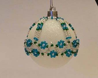 Christmas Tree Decoration / Blue and Silver Handbeaded Christmas Ornament Cover