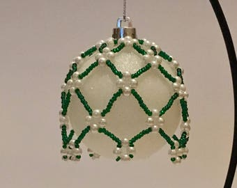 Christmas Tree Decoration /Handmade Emerald Green and Pearl Christmas Ornament Cover