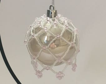 Hand Beaded Christmas Decoration / Beaded Christmas Ornament / Christmas Ornament Cover / Christmas Bauble Cover / Pearlescent and Pink