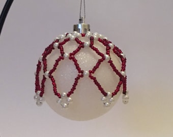 Christmas Tree Decoration / Ruby Red and Pearl Hand Beaded Christmas Ornament Cover