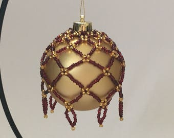 Hand Beaded Christmas Decoration / Beaded Christmas Ornament / Christmas Ornament Cover / Christmas Bauble Cover / Ruby Red and Gold