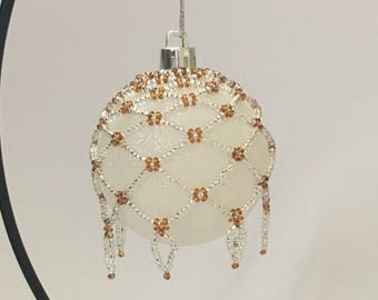 Hand Beaded Christmas Decoration / Beaded Christmas Ornament / Christmas Ornament Cover / Christmas Bauble Cover / Silver and Bronze