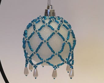 Christmas Tree Decoration / Hand Beaded Bright Blue and Pearl Christmas Ornament  Cover