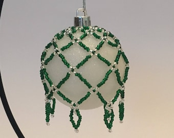 Christmas Tree Decoration / Hand Beaded Emerald Green Christmas Ornament Cover