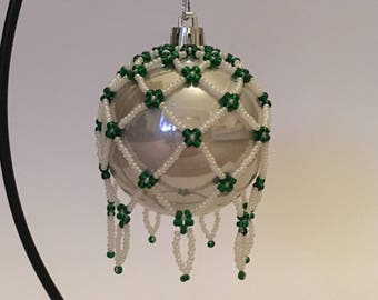 Christmas Tree Decoration / Hand Beaded Emerald Green and Pearl Christmas Ornament Cover