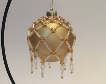 Christmas Tree Decoration /Pearlescent and Gold Hand Beaded Christmas Ornament Cover