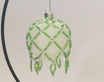 Hand Beaded Christmas Decoration / Beaded Christmas Ornament / Christmas Ornament Cover / Christmas Bauble Cover / green and Silver