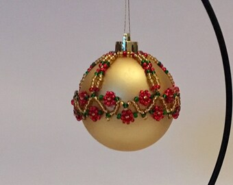 Christmas Tree Decoration / Red Flower Handbeaded Christmas Ornament Cover
