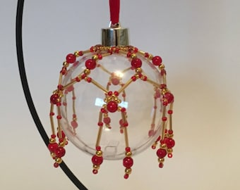 Christmas Tree Decoration / Hand Beaded Red and Gold Christmas Ornament Cover