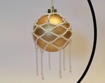 Christmas Tree Decoration / Pearl and Crystal Handmade Christmas Ornament Cover