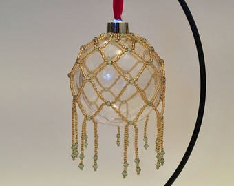 Christmas Tree Decoration / Gold and Green Handbeaded Christmas Ornament Cover