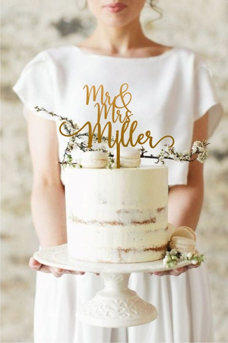 Mr and Mrs Wedding Cake Topper Gold Cake Topper for Wedding image 0