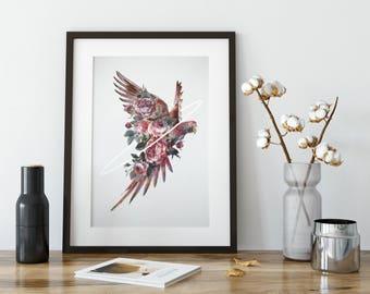 Bird Artwork Print, Parrot Art, Bird Art, Home Decor, Modern Wall Art, Tropical Decor, Wall Art