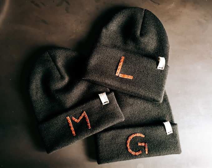 Beanie for children approx. 2-10years, customizable, black with leather letter of your choice