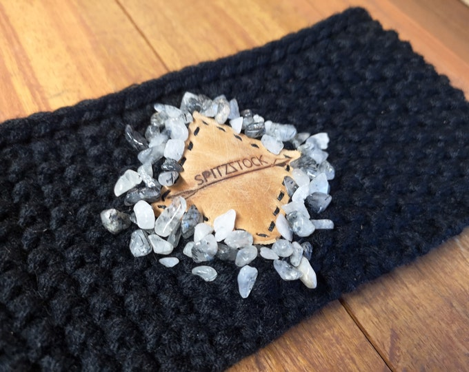 Headband with leather patch and natural stones, ladies, winter accessories, Christmas gift