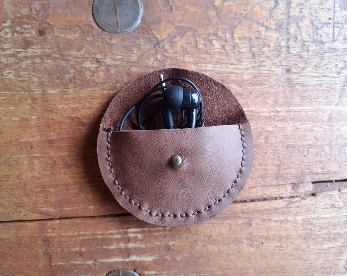 Leather case for headphones or coins, headphone bag, hand sewn, brown