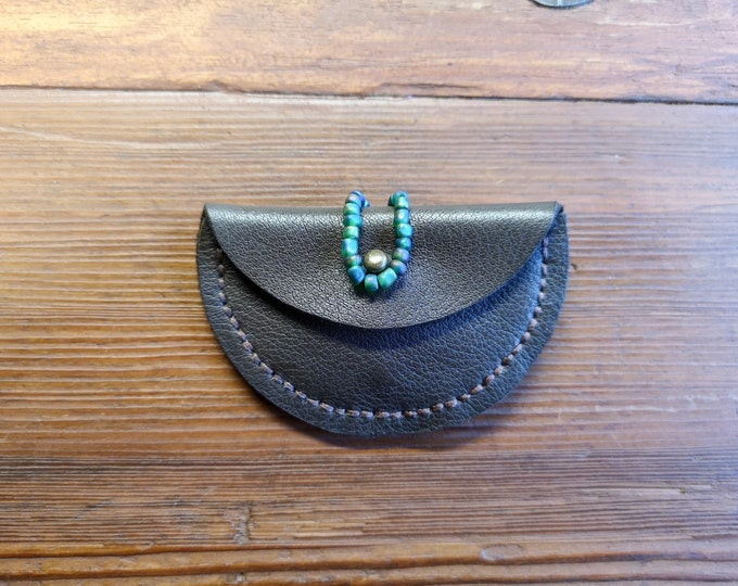 Leather case for headphones or coins, headphone bag, hand sewn, dark brown with turquoise beads