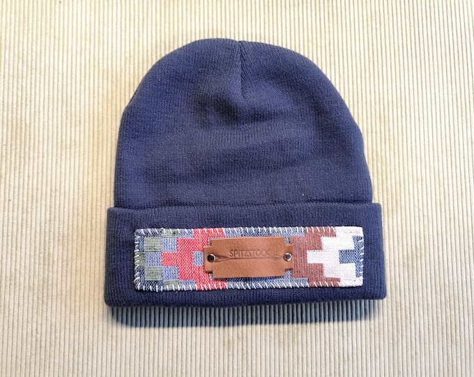 Winter Hat,Blue, Ladies, Leather Patch, Ethnic Pattern, Christmas Gift