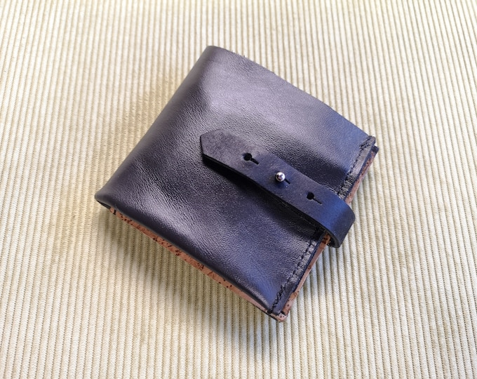 Wallet/purse in black leather and cork, unisex