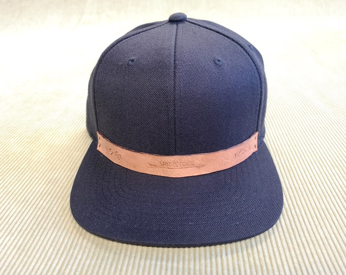 Snapback Cap Unisex, Black, Stamped Leather Patch