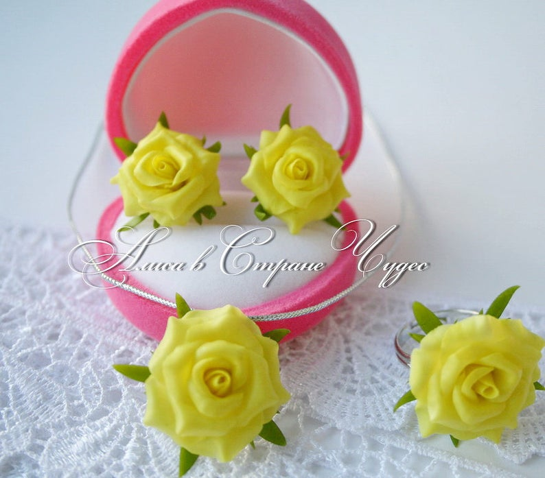 Ringearrings Pendant With Yellow Roses Flowers From Cold Etsy