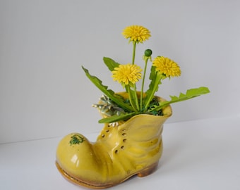 Yellow Flowers Dandelions bouquet gift from cold porcelain souvenir decor for home