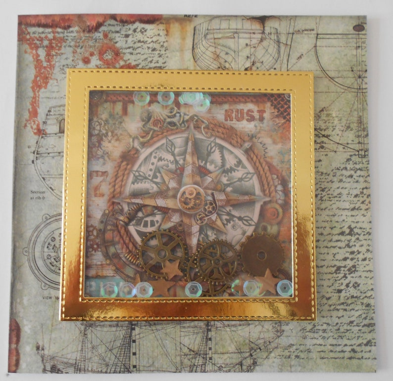 Birthday husband masculine mateship uncle Father son friendship nautical brother Steampunk compass shaker card with cog shakers