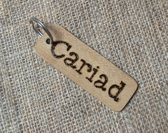 Cariad Keyring - Welsh Wood - Handmade - Love in Welsh - Mothers Day Gift - Send Love - Post Box Gift