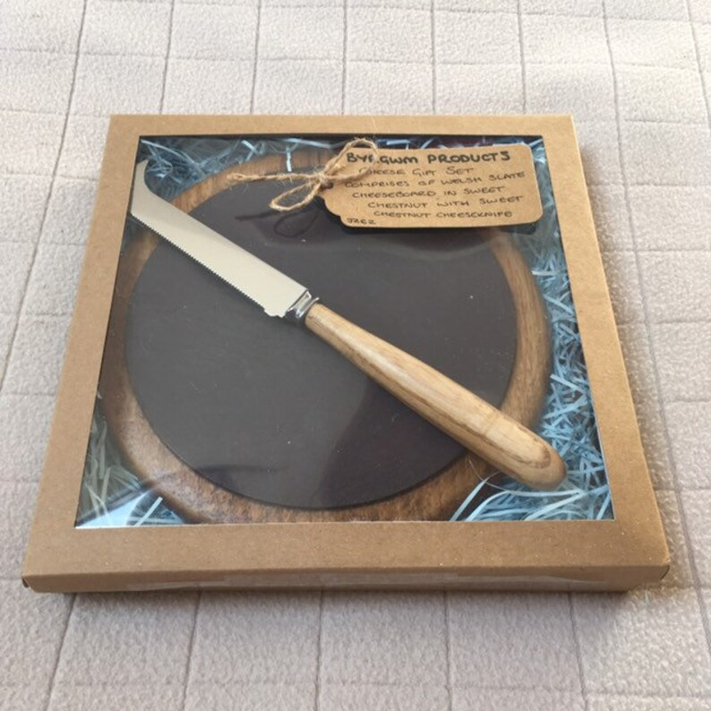 Welsh Slate Coaster & Cheese Knife Gift Set  British Steel  Kraft Brown