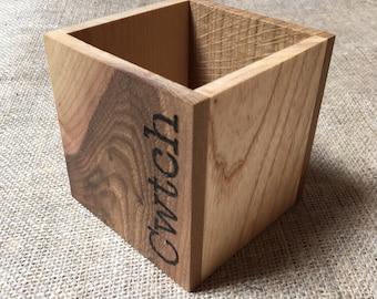 Cwtch Pencil Box - Welsh Wood - Desk Tidy - Storage - Lockdown Gift - Send a Cwtch - Send a Cuddle - Brush Holder - Handmade - Large Size