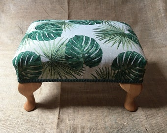 """Monstera & Palm Print Upholstery - Traditionally Handmade Footstool -12"""" Tall - Queen Anne Legs - Individually Made in Wales - Ready to Ship"""