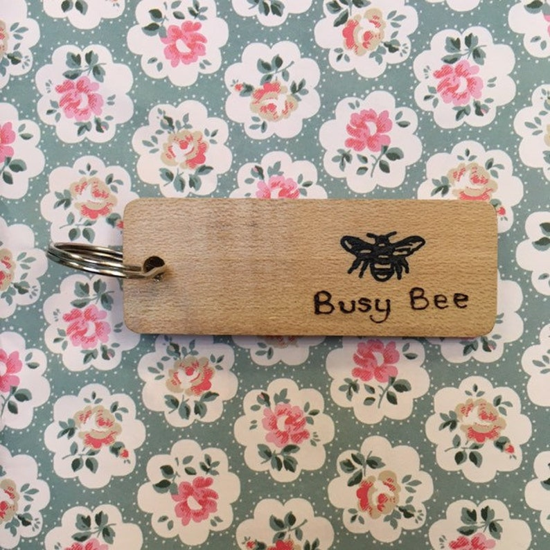 Busy Bee Keyring in Welsh Hardwood Individually Handmade image 0