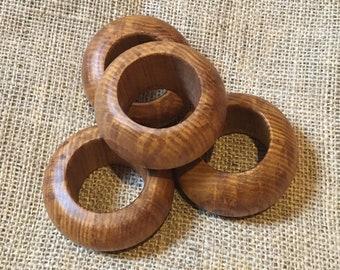 Olive Ash Napkin Rings - Set of Four - Handmade - Lathe Turned