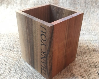 Thank You - Welsh Wood Pencil Box - Handmade - Local Woods - Teacher Gift - Diolch -Small Size
