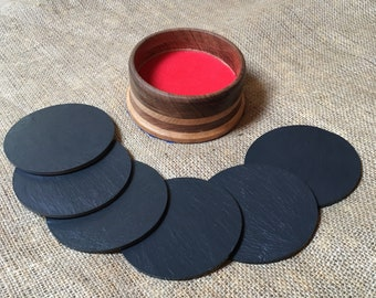 Welsh Slate Plain Coasters in Holder - Hardwood Surround - Handmade - Set of 6 Coasters - Gift - Table Centrepiece - Fathers Day